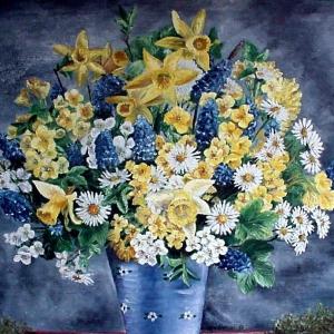 Modrá kytice | 104x90cm
