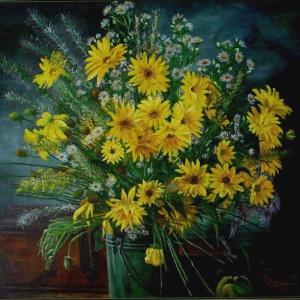Žlutá kytice | 99x89cm