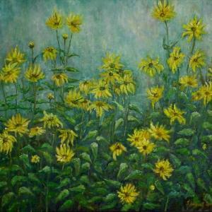 Květiny v mlze | 68x63cm