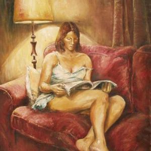 Dívka při čtení | 65x80cm