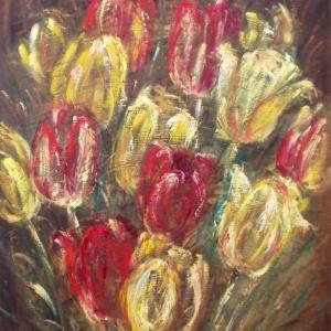 Tulipány v hnědé | 60x72cm
