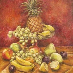 Zátiší s ananasem | 65x80, olej