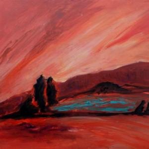 Červená krajina | 85x105, akryl, plátno