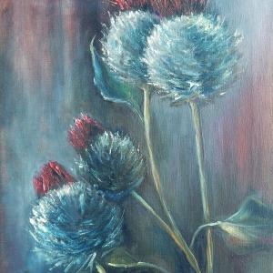 Bodláky II. | 45x60, olej, plátno