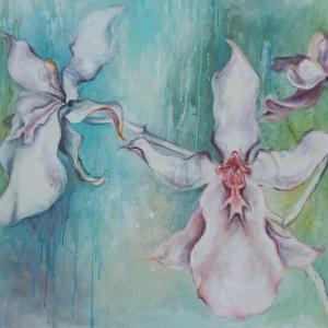 Orchidej | 95x110, akryl, plátno