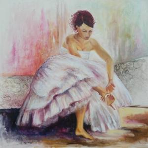 V bílé | 110x115, akryl, plátno