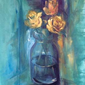Růže | 50x70, akryl, plátno