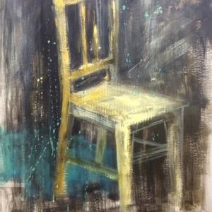 Zátiší židle | 75x100, akryl, karton